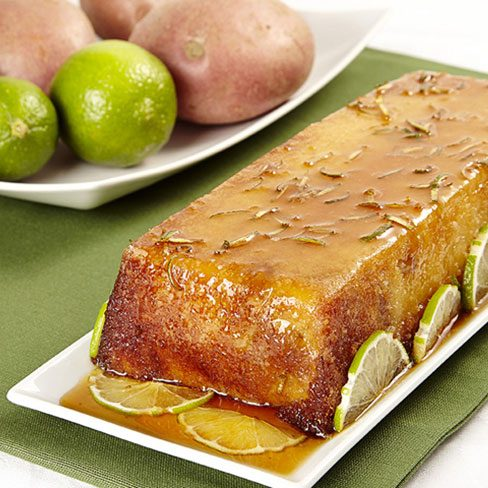 Plum Cake de patata, anacardos y jalea de lima