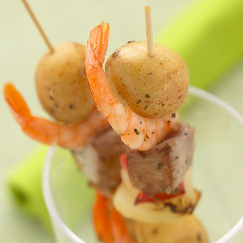 Pinchos de patatas con pescado