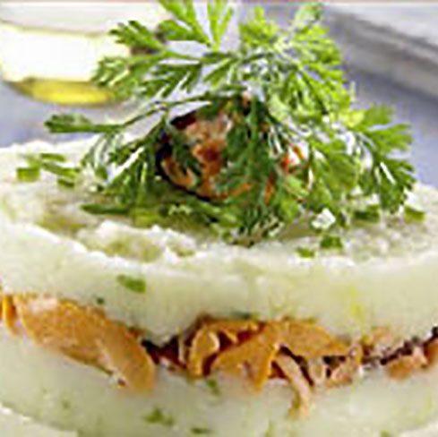 Pastel de patatas y mejillones